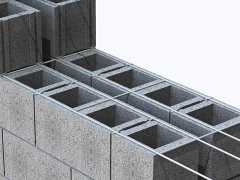 The ladder mesh reinforcement is between two bricks.