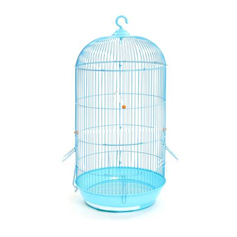 A blue cylinder shape welding bird cage with flat bottom and hook shaped handle.