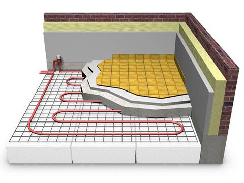 A computer simulation diagram of floor heating mesh is on the white background.