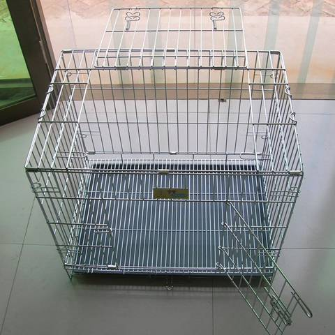 A stainless steel welded wire mesh cage with opening side door and top door.
