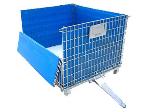 A silver wire mesh container with blue PP sheet on white background.