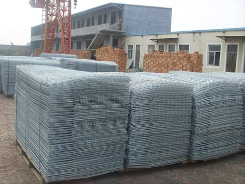 Many stacks of uninstalled gabion mesh is placed in workshop.