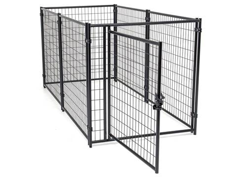 This is a black welded wire dog kennels that door is opening.